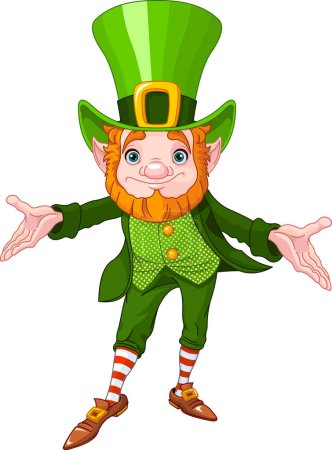 Illustration for Full length drawing of a leprechaun - Royalty Free Image