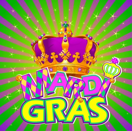 Illustration pour Couronne Mardi Gras sur fond radial - image libre de droit