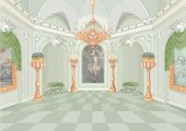 Vector illustration design of cute cartoon interior of palace
