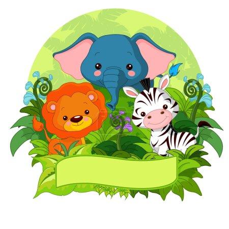 Photo pour Illustration vectorielle conception de dessins animés mignons animaux de la jungle - image libre de droit