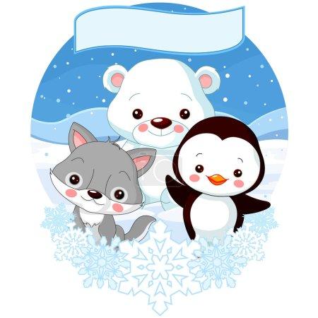 Photo pour Illustration vectorielle conception de dessins animés mignons animaux pôle nord - image libre de droit