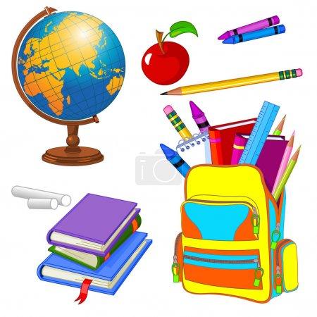 set of school supplies