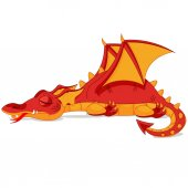 Illustrations of beautiful red dragon sleep