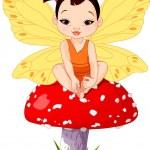 Illustration of Cute little Asian baby fairy sitti...