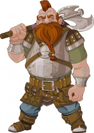 Illustration for Fantasy style Dwarf with axe, illustration - Royalty Free Image