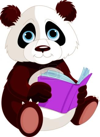 Panda is reading a book. Education
