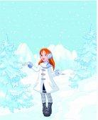 Girl enjoying a winter snowfall
