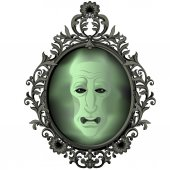 green scary ghost in mirror