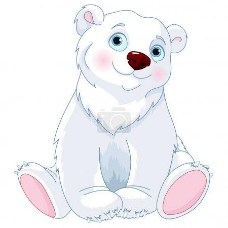 Illustration pour Mignon assis ours polaire, illustration vectorielle - image libre de droit