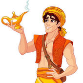 aladdin with magic gold lamp