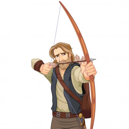 Robin Hood with a bow ready to shoot...