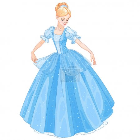 Illustration for Illustration beautiful cinderella dressed ball gown - Royalty Free Image