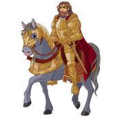 Medieval king horseback in full armor