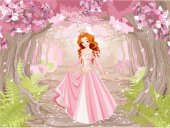 Pretty redhead princess wearing pink dress and golden tiara in magic spring forest