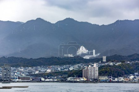 View from the water on the Japanese city of Hiroshima