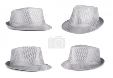 Silver silk hat for the summer on an isolated background