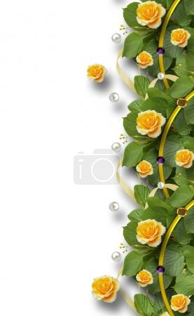 Beautiful  frame of roses, leaves, ribbons and pearls