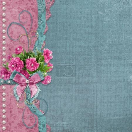 Photo for Old vintage photo album with beautiful pink peonies - Royalty Free Image