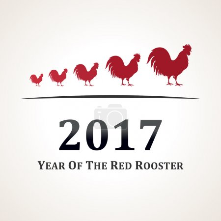 Vector red rooster, symbol of 2017. The emblem the New Year according to the Chinese calendar