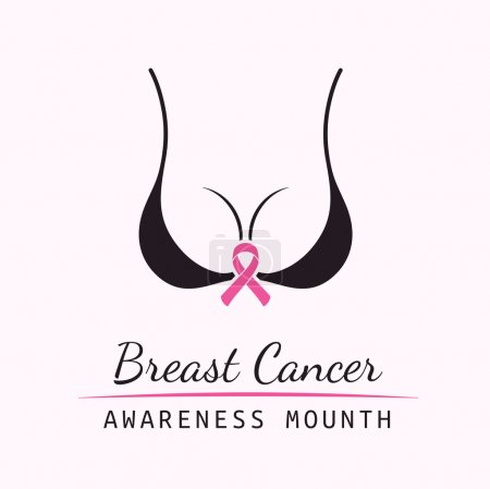 Breast Cancer October. Female bra. Information campaign. Woman body silhouette and text with pink ribbon element on a white background