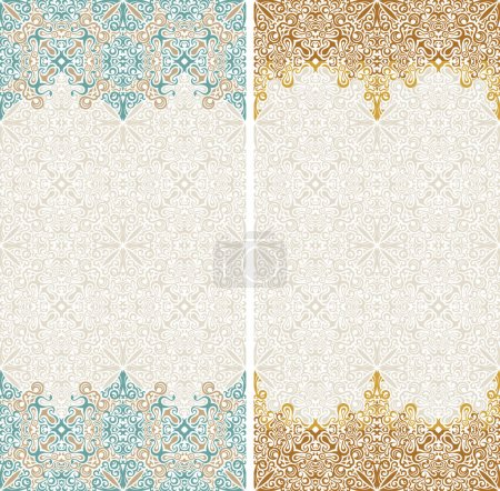 Illustration for Seamless border vector ornate in Eastern style. Islam pattern. Vintage design, place for text. Ornament pattern for wedding invitations, birthday, greeting cards. Traditional pastel decor blue and - Royalty Free Image