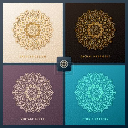 Illustration for Ethnic vector pattern mandala set design for invitations, cards, labels. Round logo and label template. Luxury floral woven pattern. Oriental ornament in boho style. Islamic background - Royalty Free Image