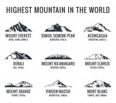 Mountain tourist vector logos set Adventures Icon mount Highest mountain in world Everest and Ismoil Somoni Peak Aconcagua Denali McKinley Kilimanjaro Elbrus Ararat Vinson Massif Mont Blanc