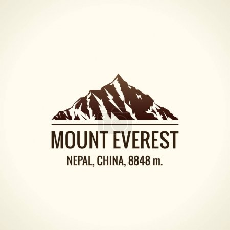 Mountain tourist vector logo. Emblem Mount adventures outdoors. Icon of the world highest mountains