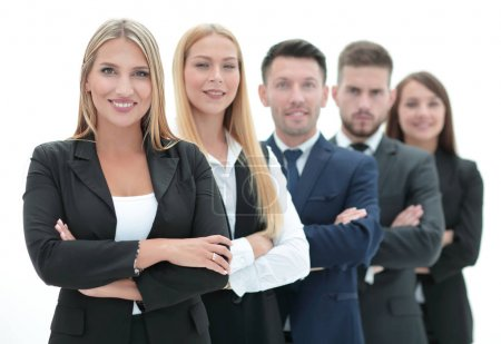 confident business team standing next to each other