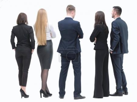Photo pour Concept de perspective. les gens d'affaires attendent avec impatience l'écran vide - image libre de droit