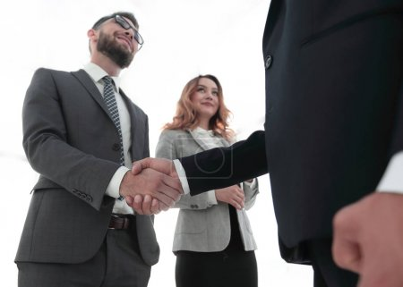 Close up business man handshake together on meeting room