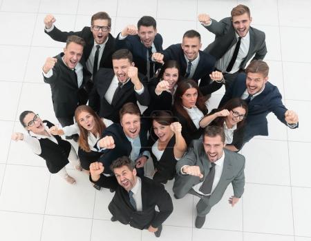 Photo pour Vue de l'équipe d'affaires top.professional montre son success.isolated sur fond blanc - image libre de droit