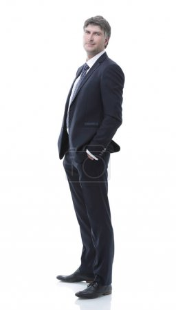 Photo for Side view. Portrait of successful businessman looking at camera. - Royalty Free Image