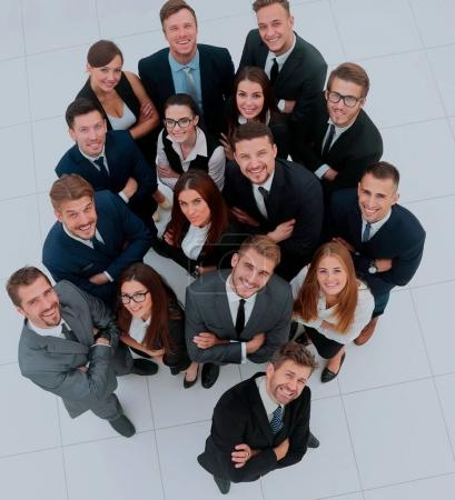 Photo for Portrait of smiling business people against white background - Royalty Free Image