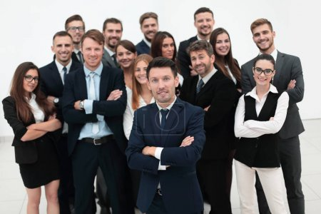 Photo for Leader standing in front of a large business team. the business concept. - Royalty Free Image