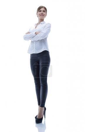 portrait in full growth of a successful young business woman