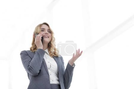 successful business woman talking on the phone.