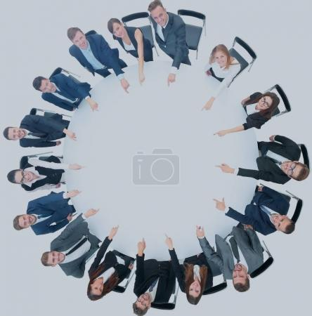 concept of teamwork:on a white background of a smiling business