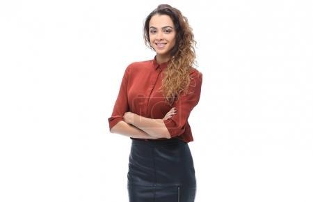 Photo pour Femme vêtue d'un style d'entreprise isolé sur blanc. photo avec espace de copie - image libre de droit