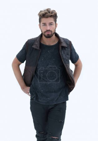 Mens casual outfits standing on a gray grunge background