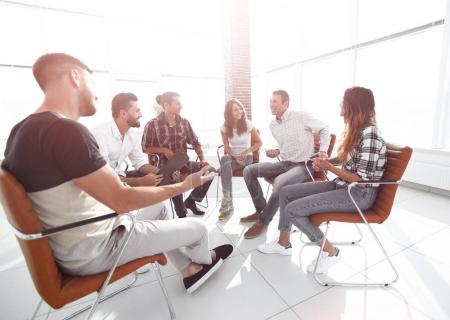 employees sitting in class for team building