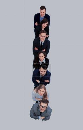 Gente de negocios de pie en una fila. vista superior