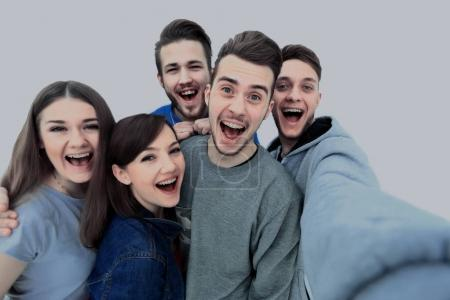 Group of happy young teenager