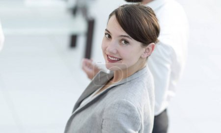 confident business woman on blurred background office.