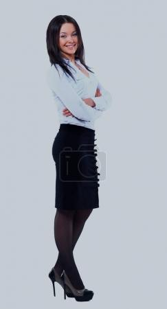 Business woman full body standing isolated on white background.