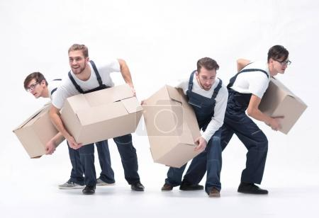 Photo for Responsible movers  in a hurry to do their job. - Royalty Free Image