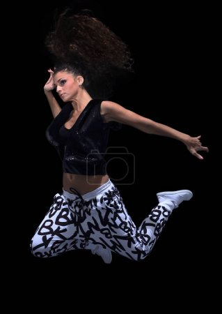young woman jumping in the style of street dance