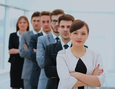 group of successful business team standing in a row.