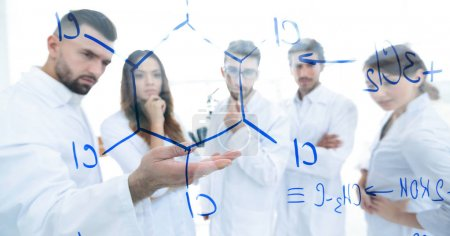 Photo for Group of laboratory employees.Molecular Structure Chemistry Science Experiment Concept - Royalty Free Image