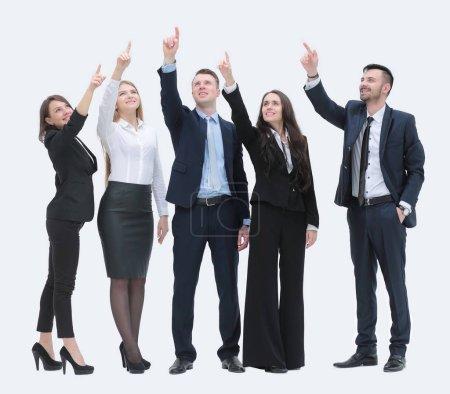Photo pour Concept de but. équipe d'affaires pointant la main vers l'avant - image libre de droit